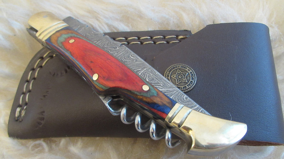 Damascus steel pocket knife with corkscrew (S26)