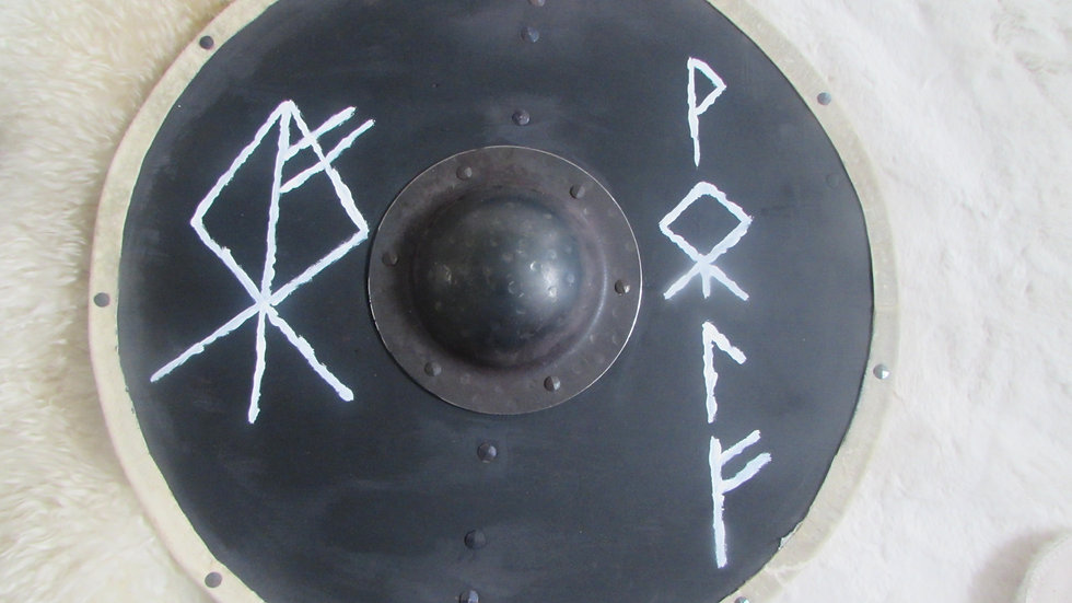 Viking shield with Wolf, Norse runes