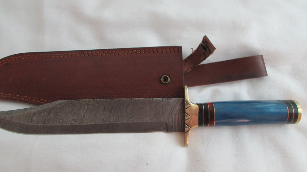 Damascus Steel Dagger with blue rosewood handle