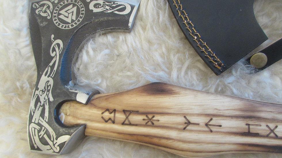 Magnificent Viking bearded axe with runes handle (V4)