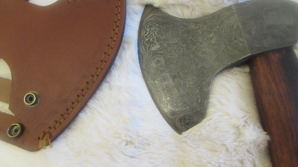 Damascus steel bearded axe with carved handle