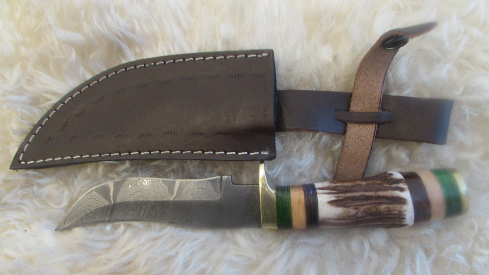 Damascus steel elkhorn knife (EH10)
