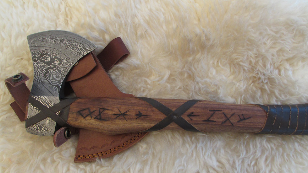Damascus steel axe with Viking runes (DM41)