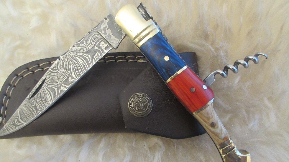 Damascus steel pocket knife with corkscrew (S16)