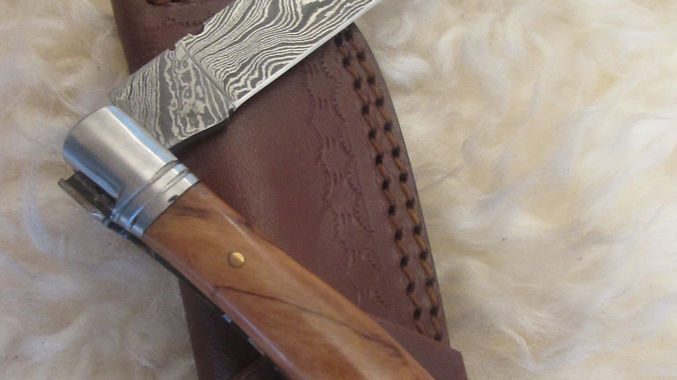 Damascus steel pocket knife with corkscrew
