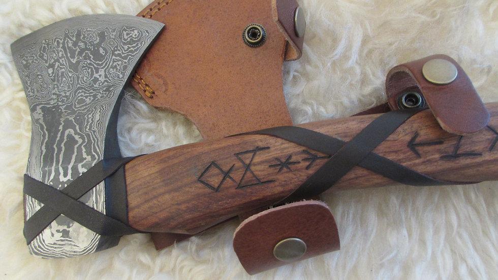 Damascus steel axe with Viking runes (DM47)