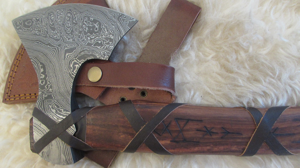 Damascus steel axe with Viking runes (DM58)