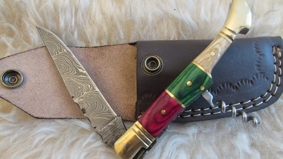 Damascus steel pocket knife with corkscrew (S51)