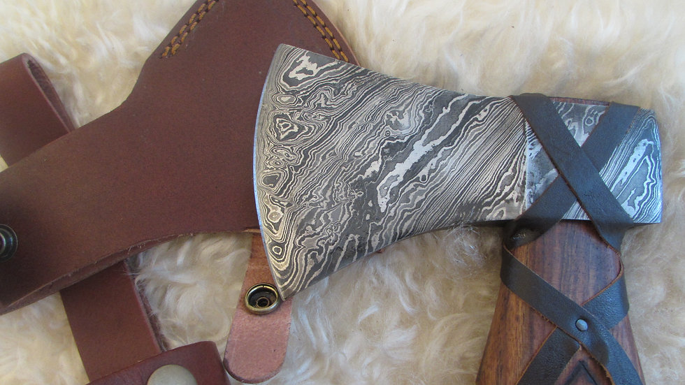 Viking Runes handle Damascus steel axe (DM12)