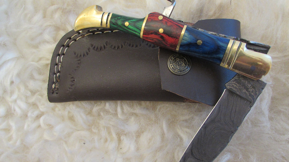 Damascus steel pocket knife with corkscrew (S38)