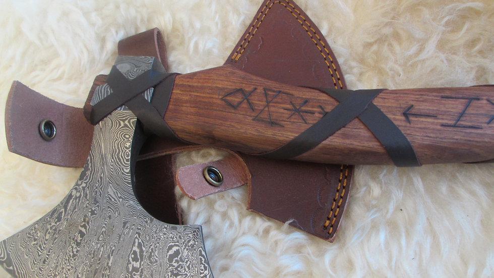 Rune handle Damascus steel axe (DM10)