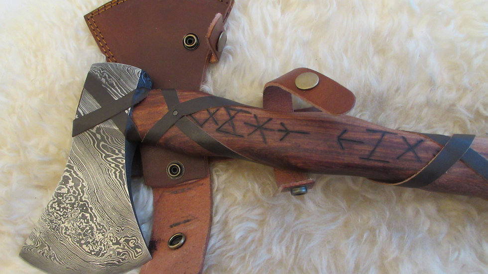 Damascus steel axe with Viking runes (DM39)