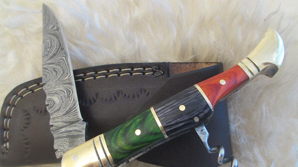 Damascus steel pocket knife with corkscrew(S18)