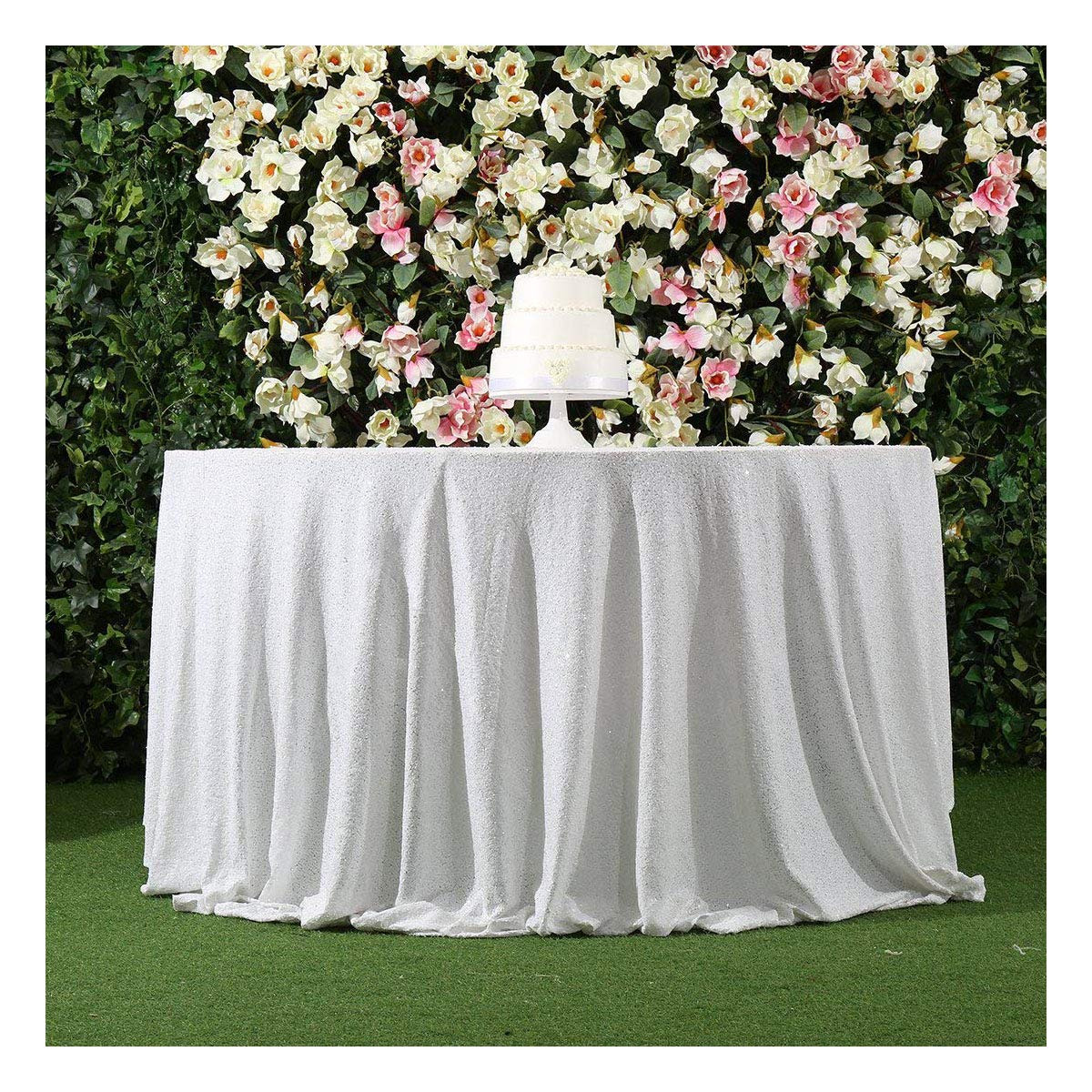 White Sequin Table Cloth
