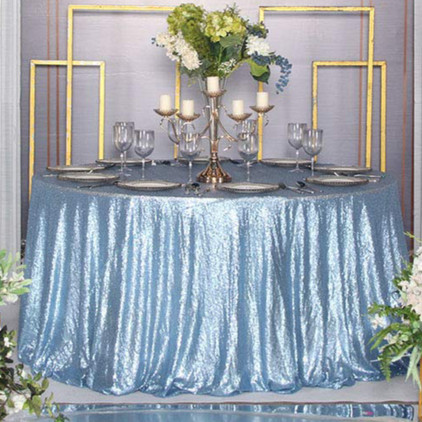 Blue Sequin Table Cloth