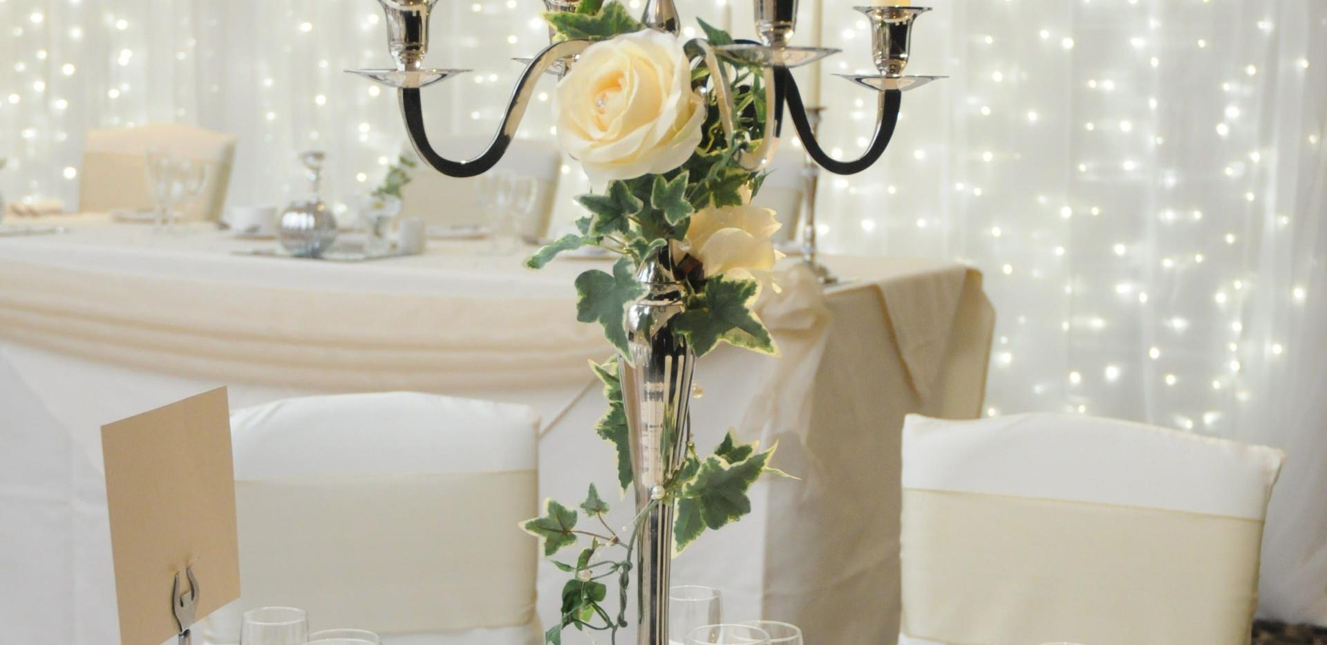 silver candelabra hire london