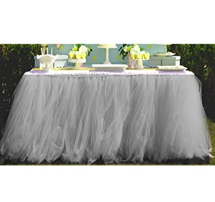 grey table skirt