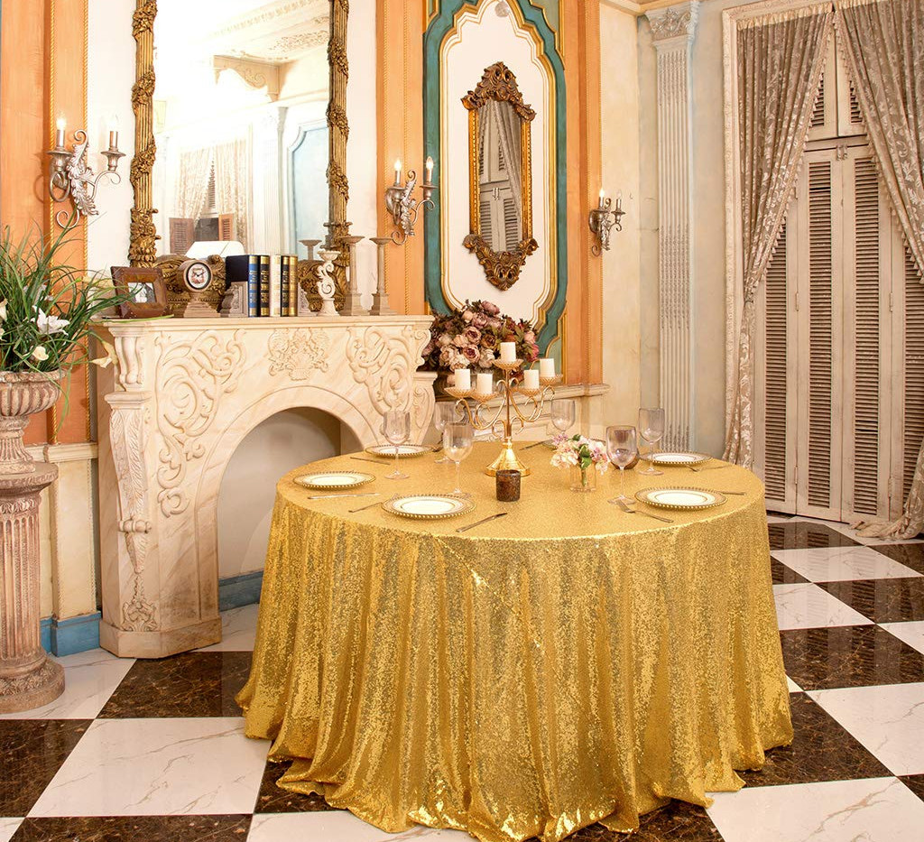 Gold Sequin Table Cloth