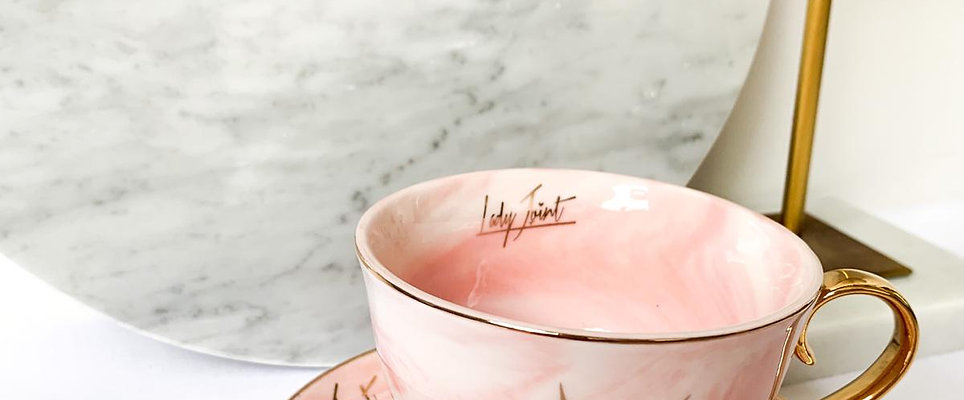 Lady Joint High Tea Cup - Pink Marble Gold Leaf