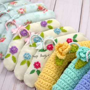 Fabric, embroidery and crochet dolls Padded Hanger