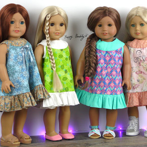 "Little Yoke Dress tutorials for 14"" and 18"" dolls with free printable Patterns"