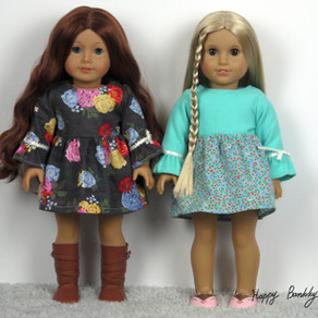 "Frill long sleeves dress # 18"" dolls dress with free printable pattern"