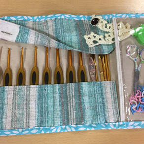Crochet hook holder with patterns