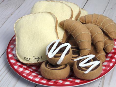 Felt croissant, cinnamon roll, slice bread