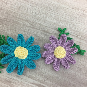 Crochet flowers tutorial #daisy with leaves