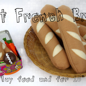"Felt French Bread for kids play food and 18"" dollsTutorial"