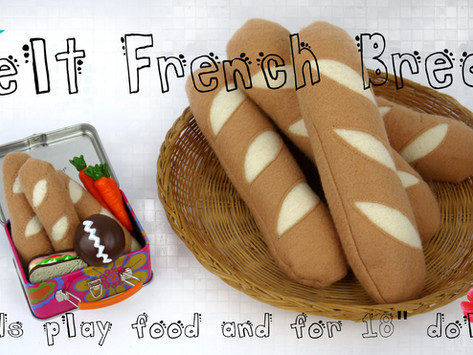 """Felt French Bread for kids play food and 18"""" dollsTutorial"""