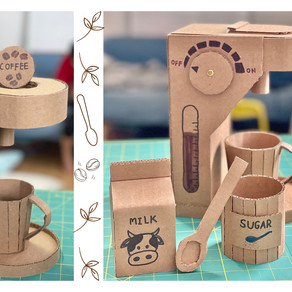 Cardboard Coffee Machine, Mug, Sugar Bolw, Spoon and Milk Carton