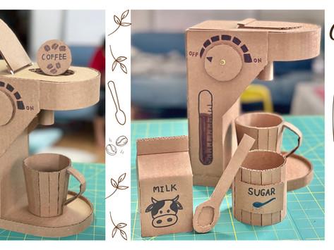 Cardboard Coffee Machine, Mug, Sugar Bolw, Spoon and Milk Carton