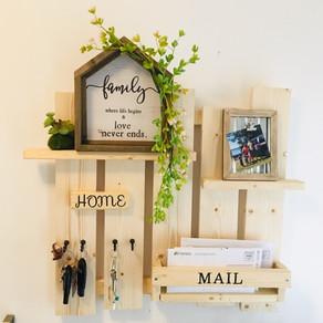 My 1st wood working Shelf/ Keys, mails holder/ Wall Decor