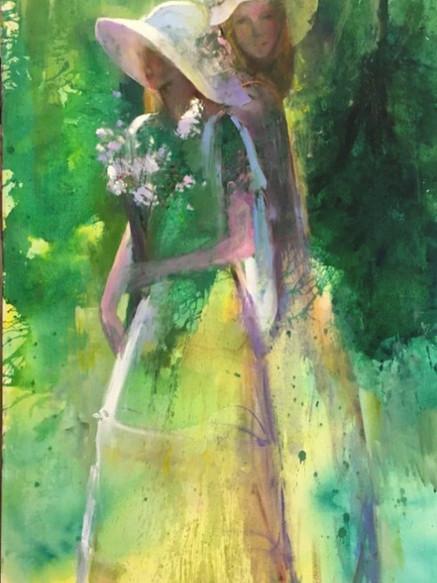 Sisters, Oil on Canvas, 180 cm x 100 cm