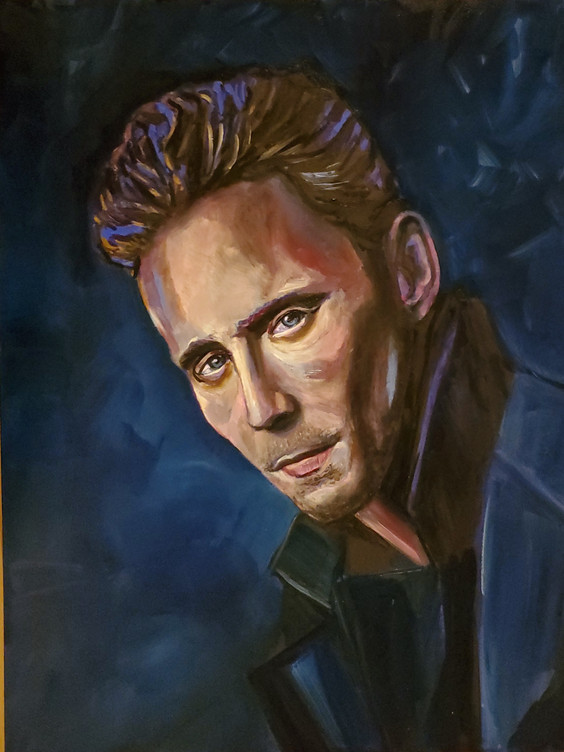 Tom Hiddleston (2020) Oil on canvas 100 cm x 100 cm
