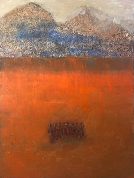 'Romanian Dancers', (2019), oil on canvas, 80cm x 60cm