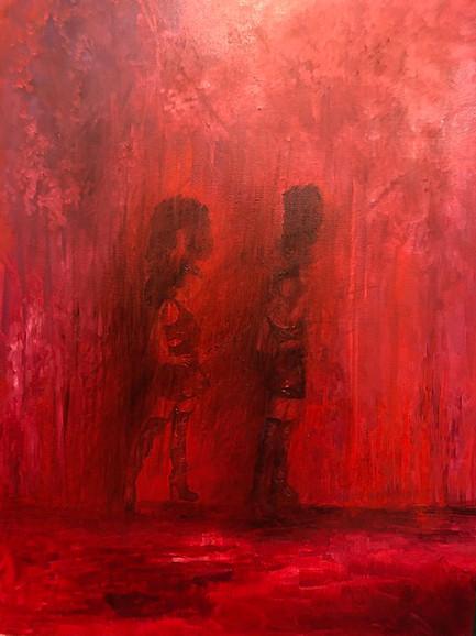 'Cabaret Girls', (2018), oil on canvas, 100cm x 75cm
