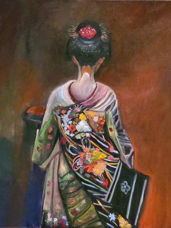 Japanese Lady (2020) Oil on Canvas 90 cm x 90 cm