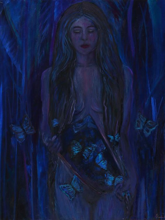 'Butterfly Feelings', (2018), oil on canvas, 100cm x 80cm