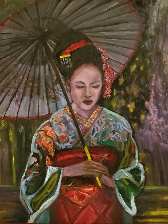 Geisha (2020) ) Oil on Canvas 90 cm x 90 cm