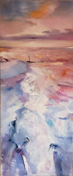 Ice on the Danube (2017) Oil on Canvas 120 cm x 50 cm
