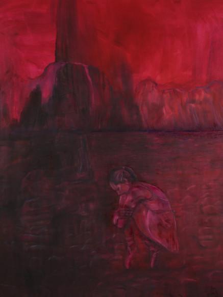 Tiptoeing on the Rocks, (2019), Oil on Canvas, 153 cm x 175 cm