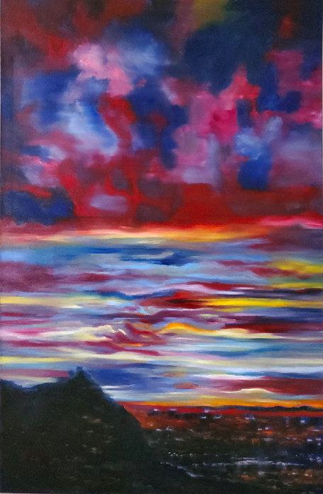 Sunset beyond the Hills (2021) Oil on Canvas 170cmx110cm