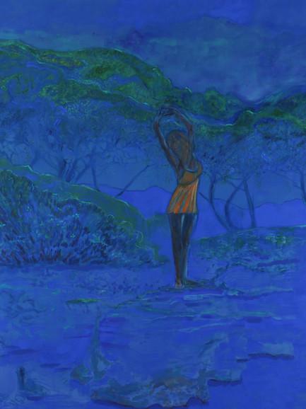 Beach Dance, (2019), Pigment and Oil on Canvas, 190 cm x 160 cm