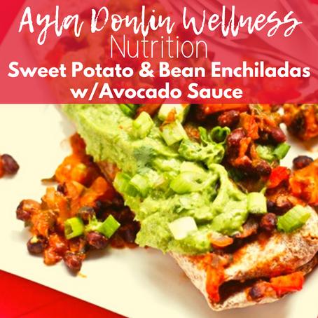 Sweet Potato & Black Bean Enchiladas with Avocado Sauce