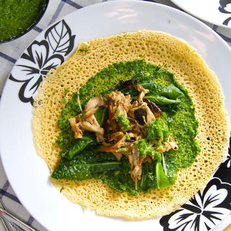 קרפ חומוס ופטריות עם פסטו פטרוזיליה