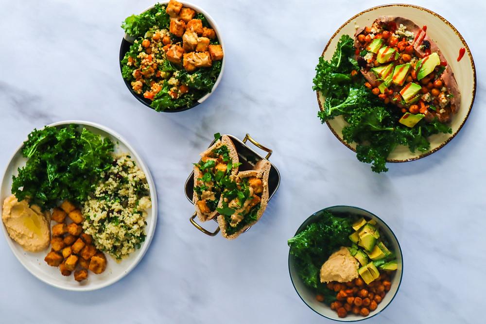 הכנה מראש ארוחות צהריים טבעוניות