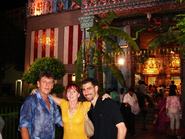 Pieter Grove (Director); Gail Davies (Choeographer); Anthony Moreno (Sound) at one of the Temples in Singapore