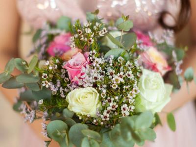 Blush Pink bridesmaid dresses & B